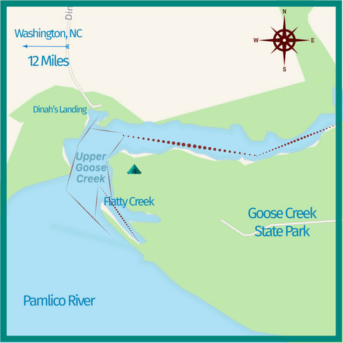 paddling map of Goose Creek State Park