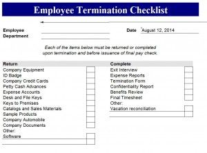 Employee Termination Checklist Template Resume Free Report Daily Task