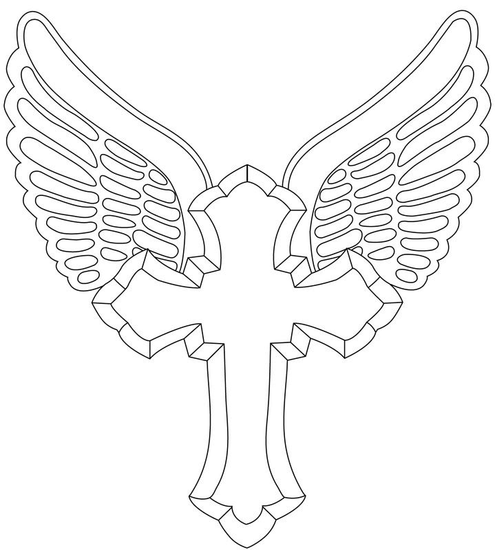 Simple Cross Line Art : Cross outline tattoo designs vector design