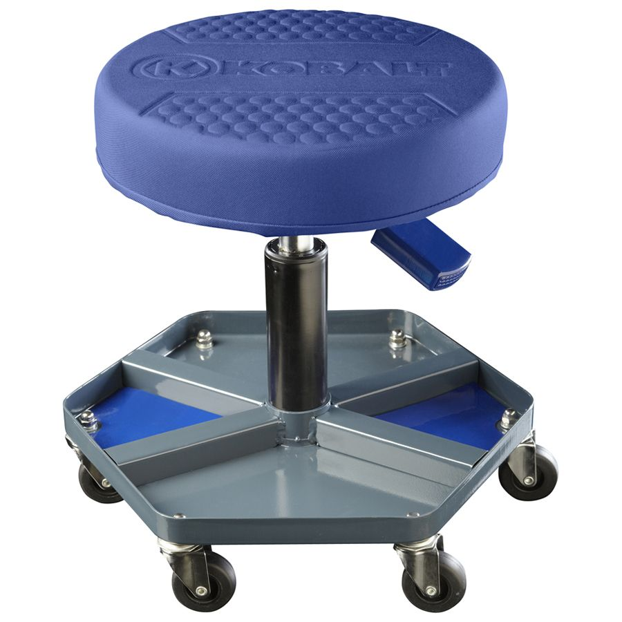 Kobalt Adjustable Shop Stool Lowes Com Shop Stool Stool With Wheels Garage Stool Heavy duty shop stool with wheels
