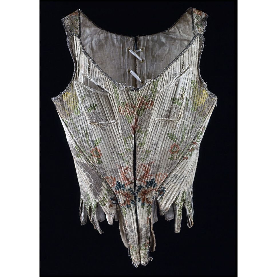 "Breastfeeding in the late 1700s: Stays, altered for nursing ca. 1765 (textile); prob. altered 1775-1790 Origin: Europe, France or Italy Waist: 22""; Length at center front: 14 3/4"", bust approx. 30"". Silk brocaded with silk and metal threads; whalebone; linen, leather linings. Museum Purchase Acc. No. 1986-111"