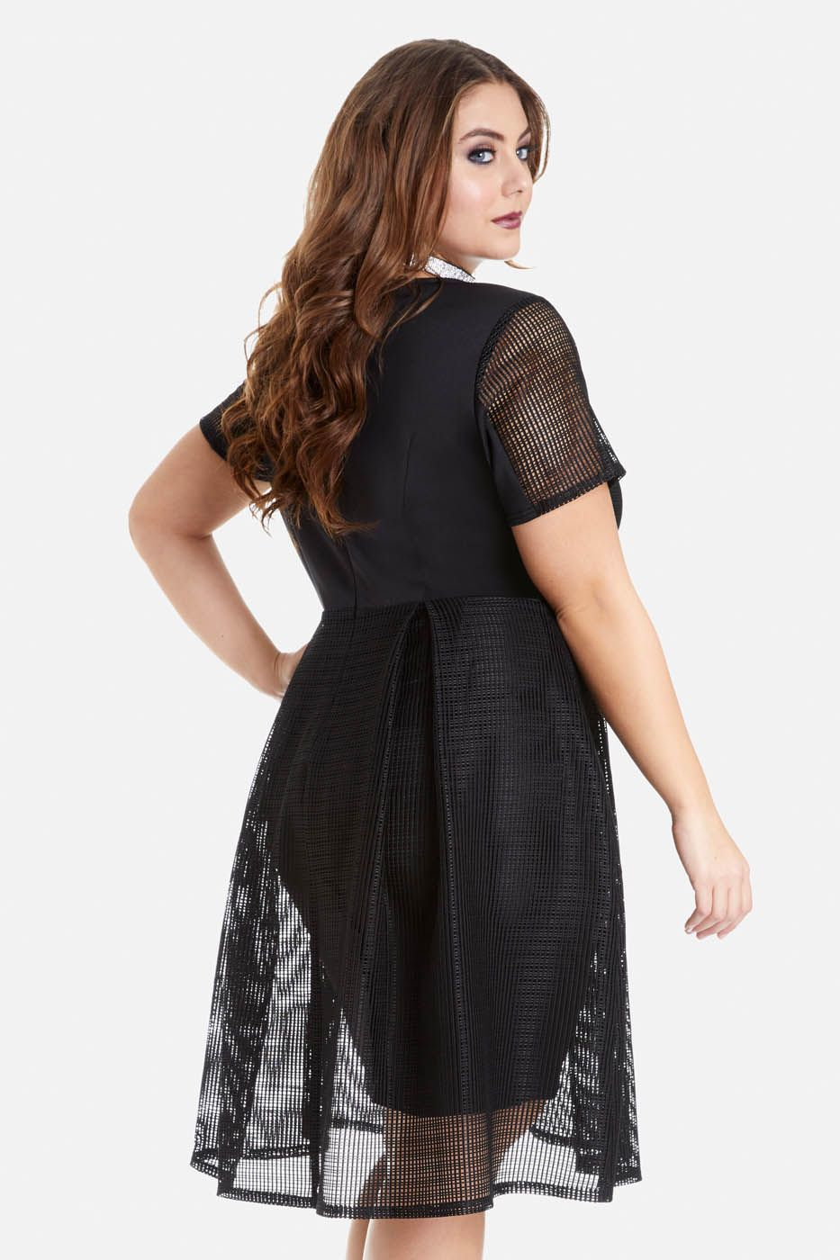 Plus Size Audrina Mesh Fit and Flare Dress Clothing