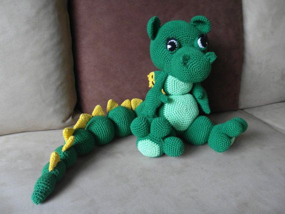 Crochet dragon-Crochet Dinosaur-Stuffed Dragon-Stuffed Dinosaur-Toy Dragon-Plush Dinosaur-Green Dragon-Drakosha-amigurumi dragon-dragon doll