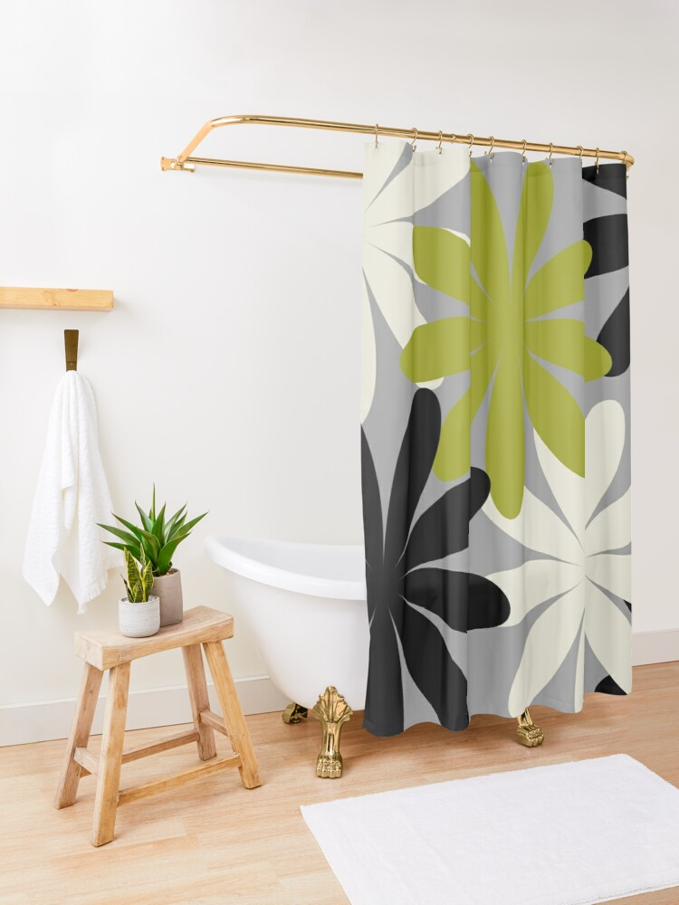 Minimal Abstract Black Olive Green Grey Beige 07 Shower Curtain