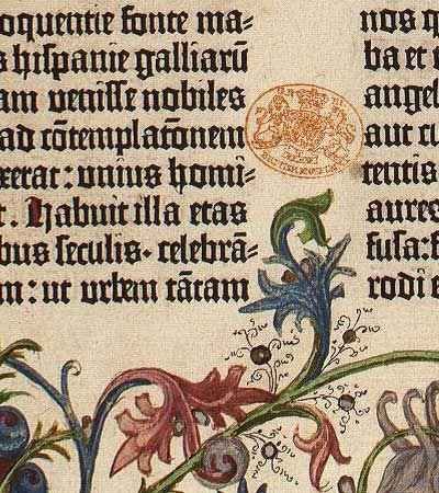 Gutenberg's bible page detail