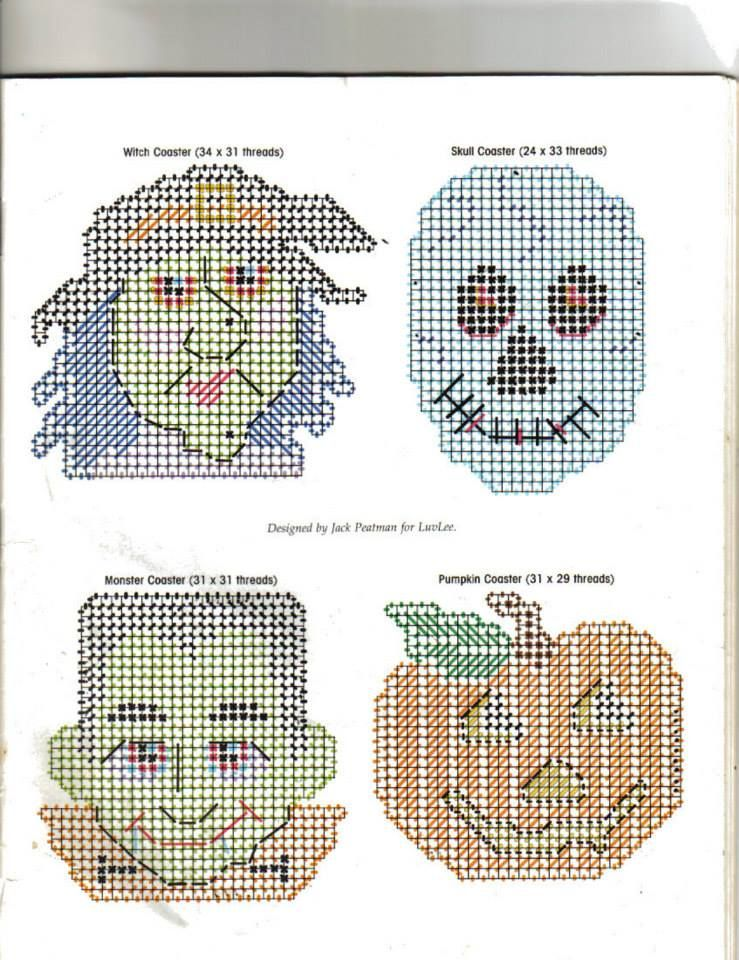 This is a photo of Lucrative Free Printable Halloween Plastic Canvas Patterns