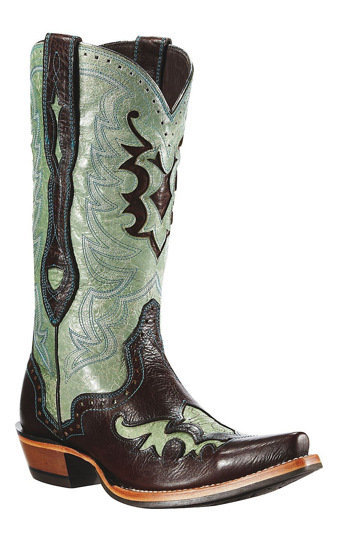 f3a887b2eb6 Ariat® Rienda™ Ladie's Chocolate & Rodeo Teal Overlay Snip Toe ...