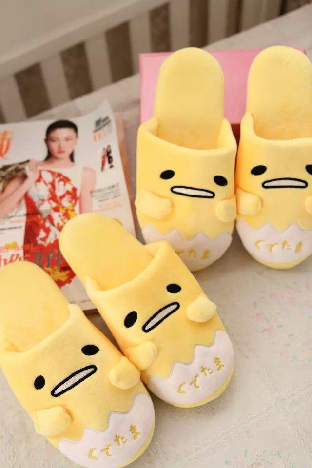 d967fb9af85 Cozy Gudetama Egg Winter Indoor Plush Shoes Home Antiskid Unisex Anime  Slipper
