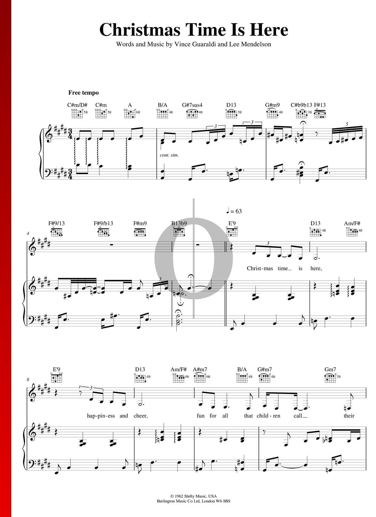 Christmas Time Is Here by Vince Guaraldi Piano Sheet