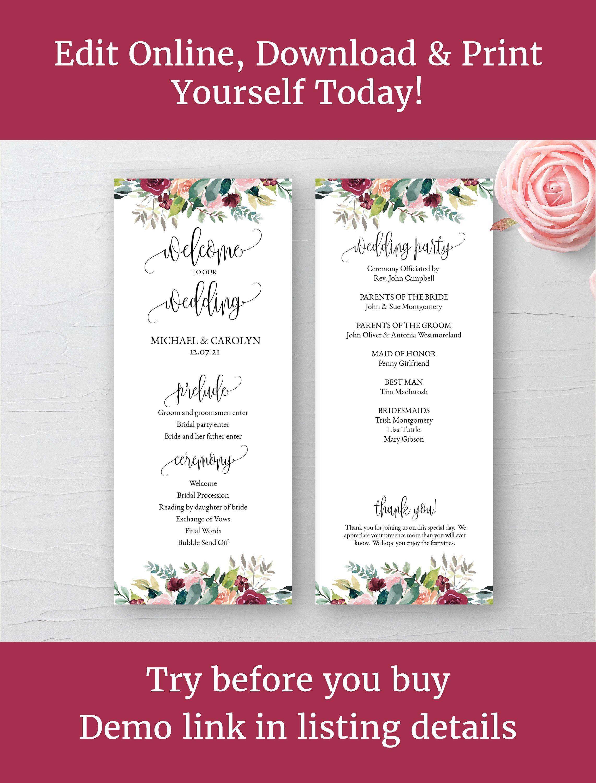 Wedding Program Template Programme Printable Fl Ceremony 3 75 X9