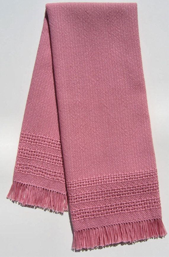 Handwoven Towel Lace Border Pink