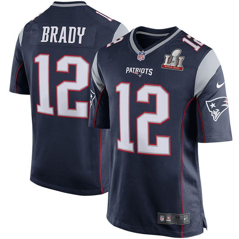 2f64d3a7d Tom Brady New England Patriots Nike Youth Super Bowl LI Bound Game Jersey -  Navy