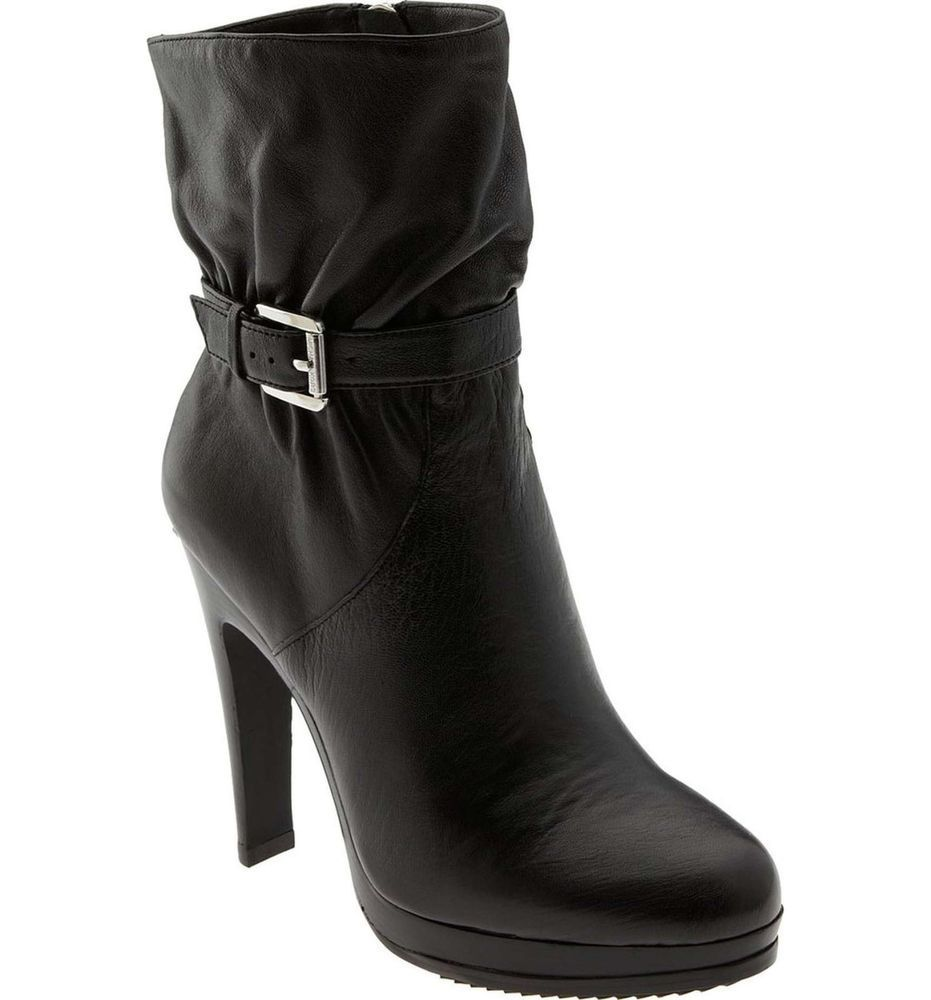 Black Leather Ruched Zip Rounded Toe Short Ankle Boots Heels 8M Michel M