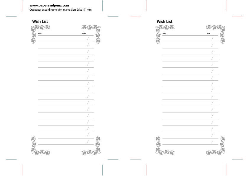 Simple Wish List for personal size planner Free download Free - free download daily planner