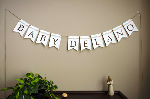 Baby Shower banner handmade Burlap Ribbon Elephants and by zuCards