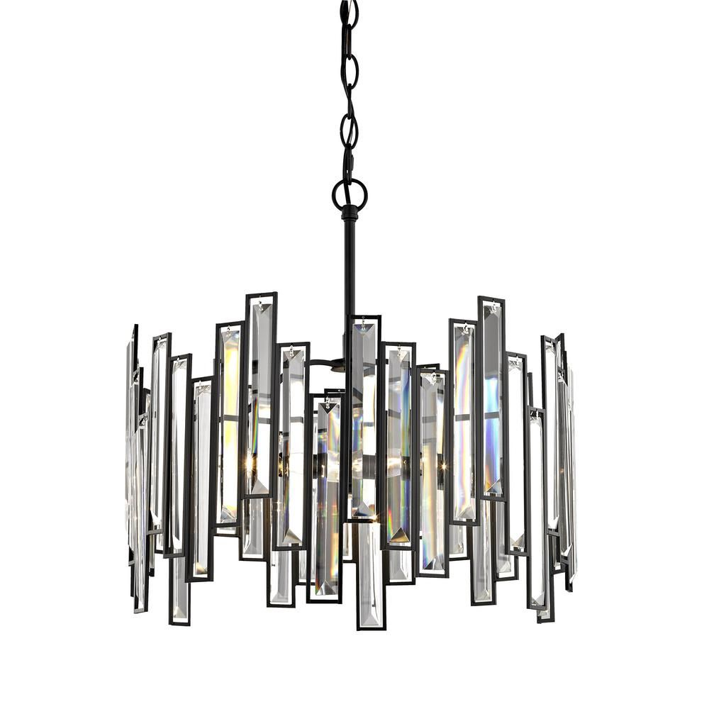 black chandelier lighting. Fifth And Main Lighting Madison 3-Light Matte Black Chandelier With Crystal Prisms