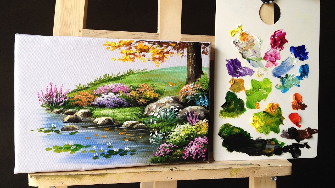 How to paint bushes flowers lesson 2 | Paintings ...