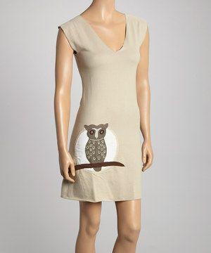 Loving this Light Taupe & White Owl V-Neck Dress on #zulily! #zulilyfinds
