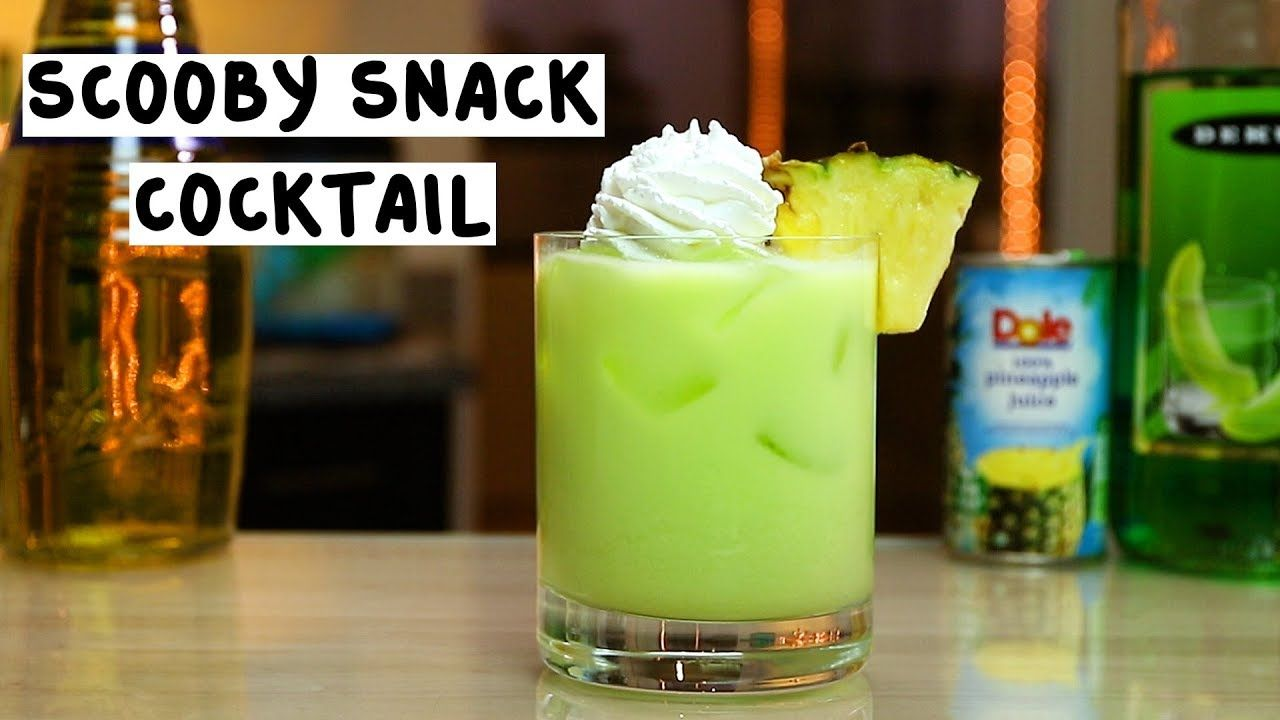 Scooby Snack Cocktail 3 4 Oz 22 5ml Coconut Rum 3 4 Oz 22 5ml Creme De Bananes 3 4o Scooby Snack Cocktail Scooby Snack Drink Recipe Alcohol Drink Recipes