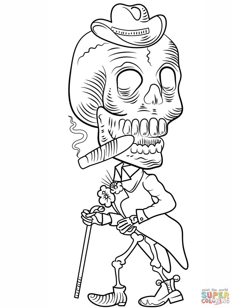 Free Printable Skeleton Coloring Pages Di 2020