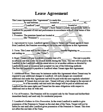 Apartment Lease Agreement  Apartment Lease Agreement