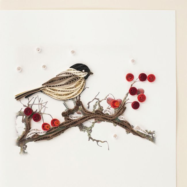 Quilled black capped chickadee greeting card quilling for Quilling strips designs