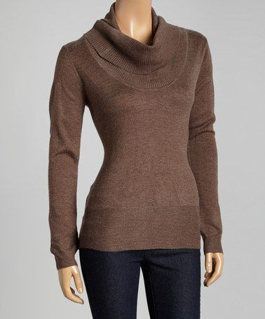 Another great find on #zulily! Heather Brown Cowl Neck Sweater by ...
