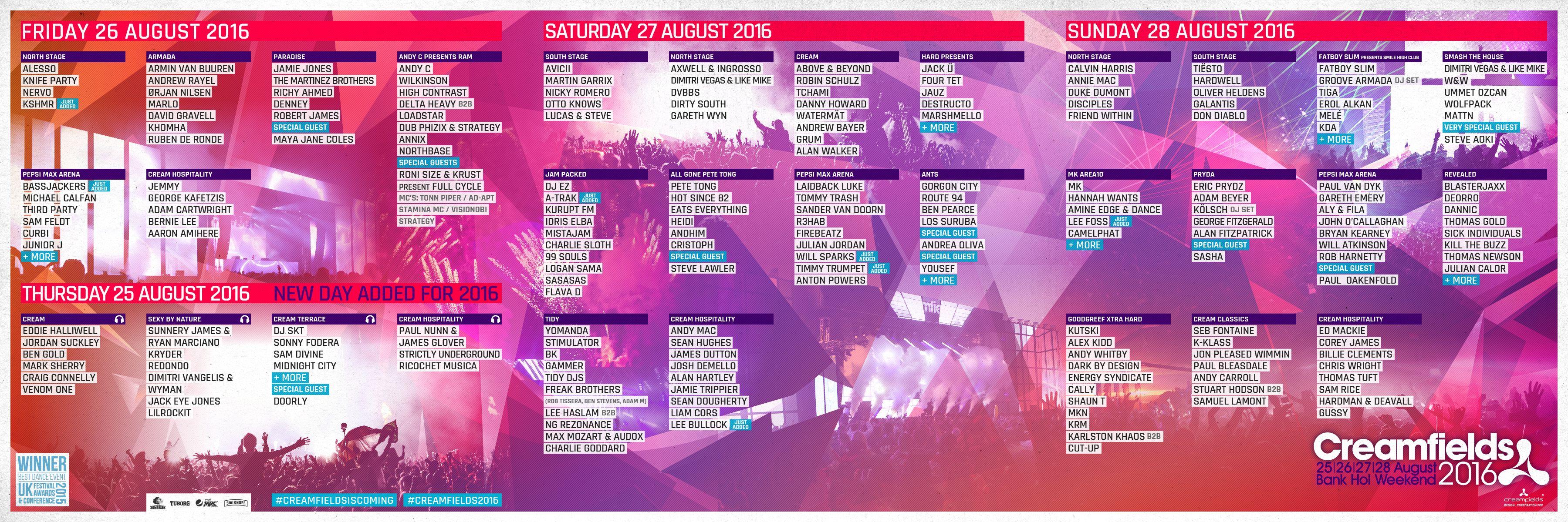 Creamfields 2016 full line-up | Posters | Thursday, Sunday