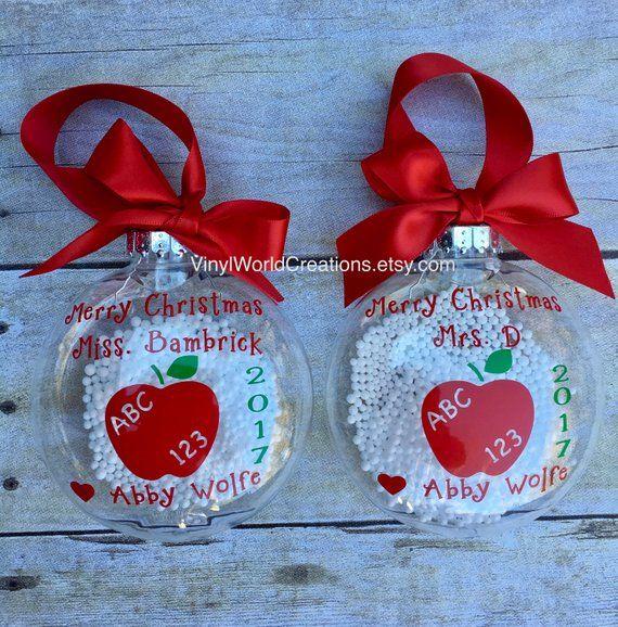 Set of 2 Christmas ornaments for teacher, Christmas presents for teacher, Christmas gift for teacher, holiday gift for teacher, apple