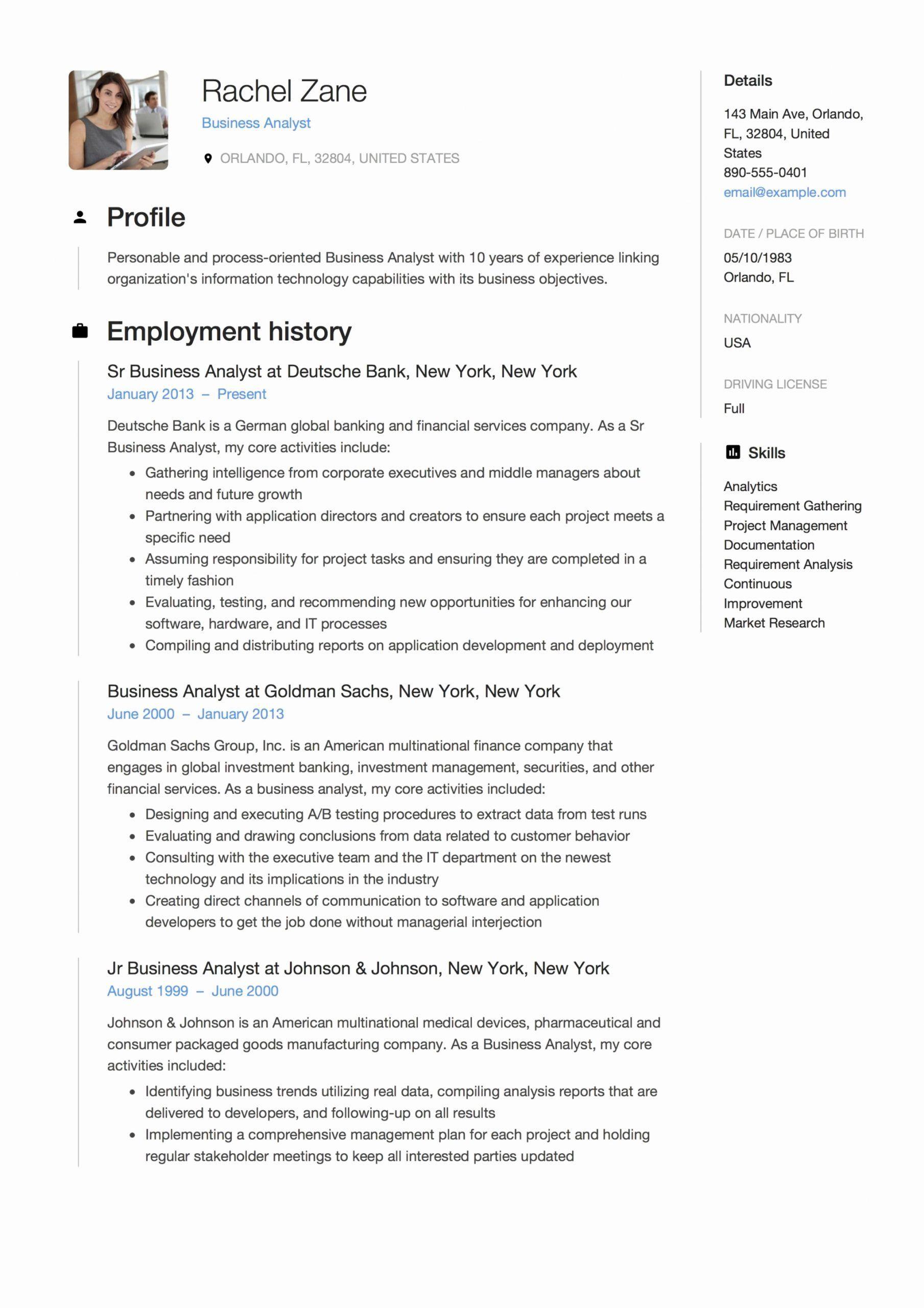 Business analyst resume skills printable resume