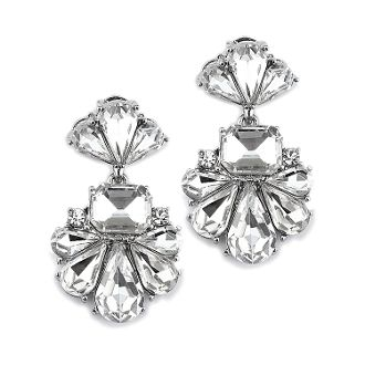 Dramatic Icy Pear Cluster Statement Earrings for Wedding or Prom