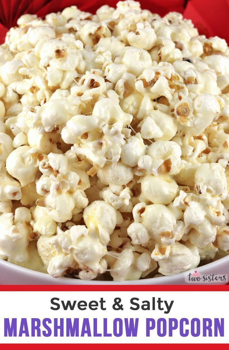 Salty Marshmallow Popcorn  a fun and unique dessert that is sweet crunchy and delicious This fun popcorn treat is so easy to make and would be a great a dessert for a par...