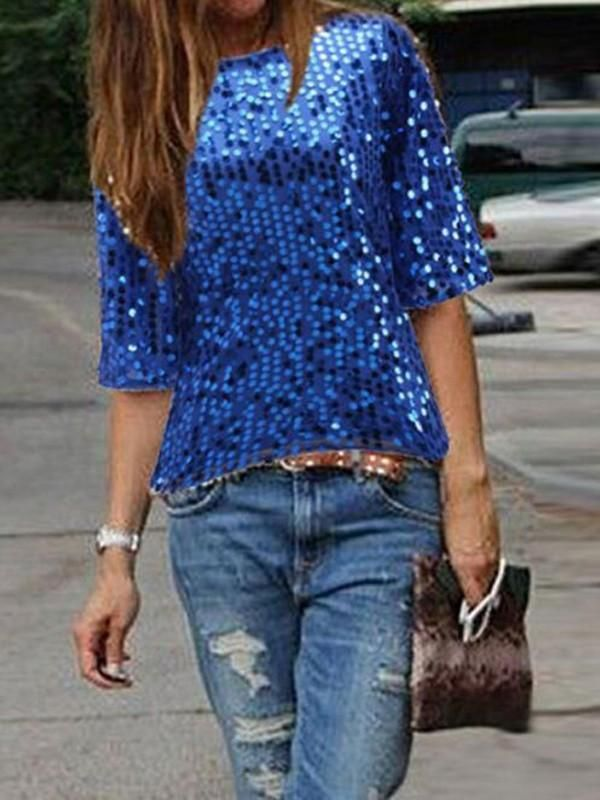 11de9702 Royal Blue Sequin Round Neck Elbow Sleeve Sparkly Clubwear NYE Party Top T- Shirt