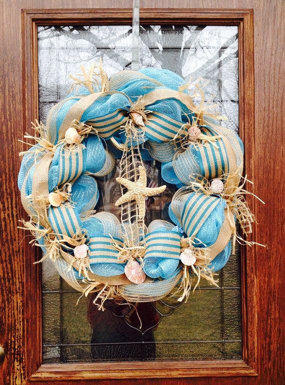 Starfish In Ocean Blue Mesh Wreath Making Under The