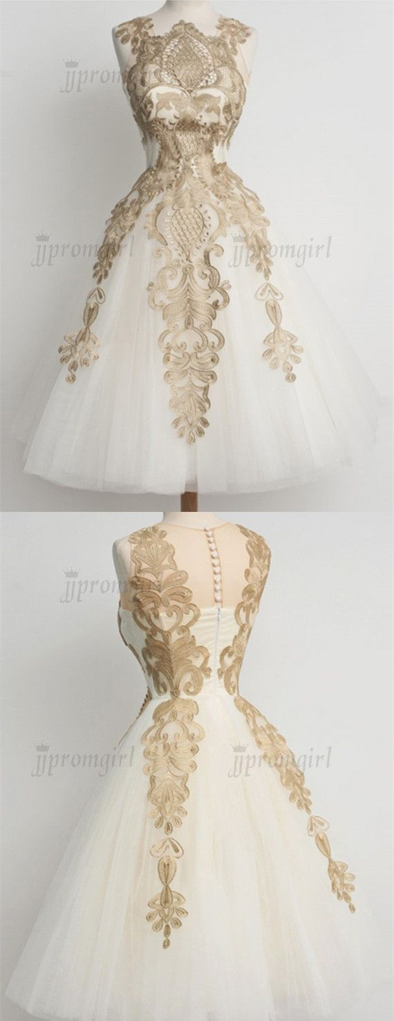 Stunning scalloped midcalf champagne prom dress with lace appliques