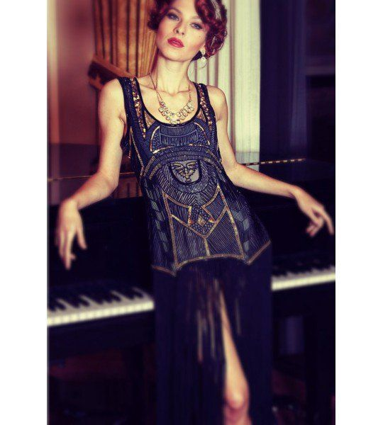 Tabards The Deco Haus: Roaring 20s Art Deco Dress In Black By The Deco Haus In