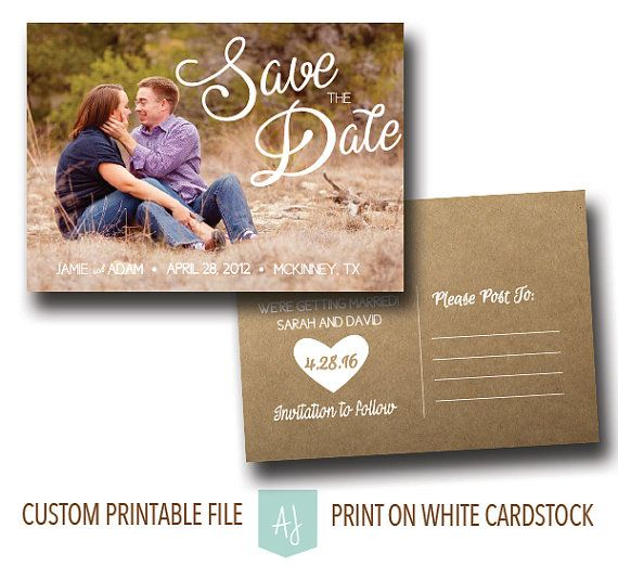 Printable wedding save the date with customization! Colors shown are