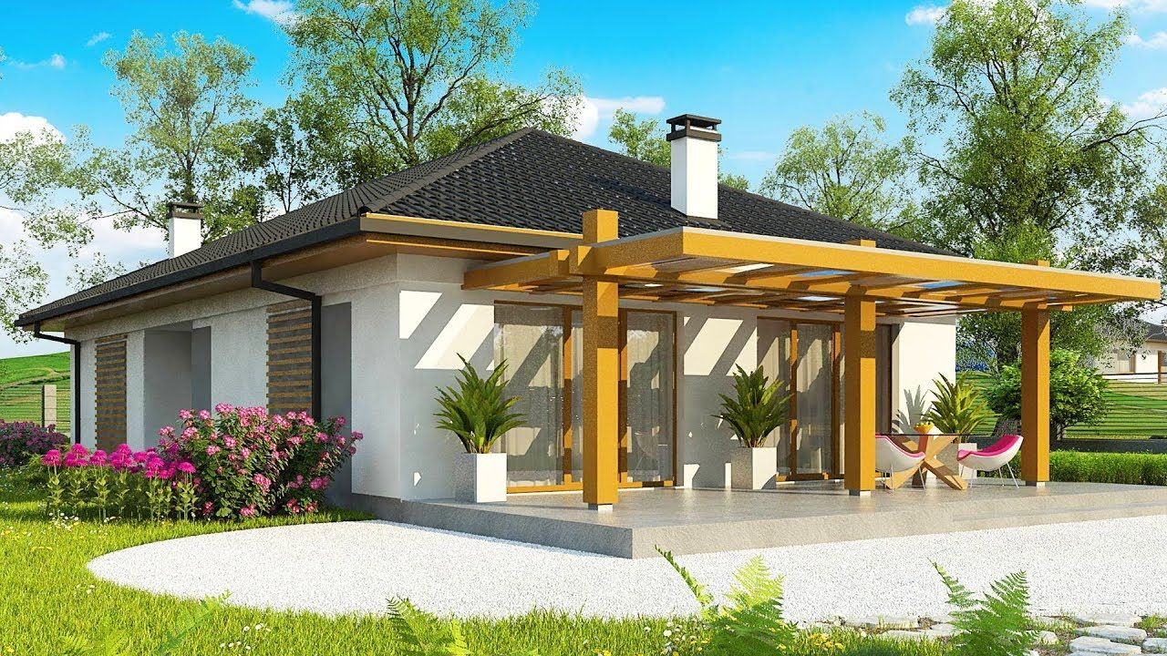 Absolutely Beautiful Z328 Modern One Story House With An Envelope Roof One Story Homes Flat Roof House Designs Small House