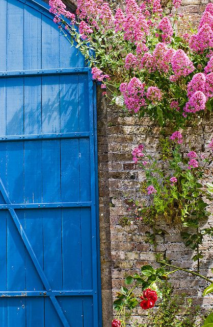 The blue barn door in the upper Gardens, Lismore Castle, Lismore, Co Waterford