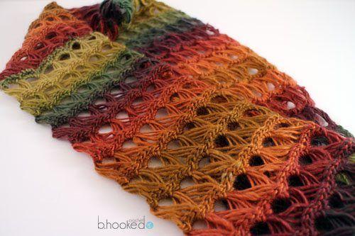 palo de escoba bufanda infinito de encaje patrón de crochet libre ...
