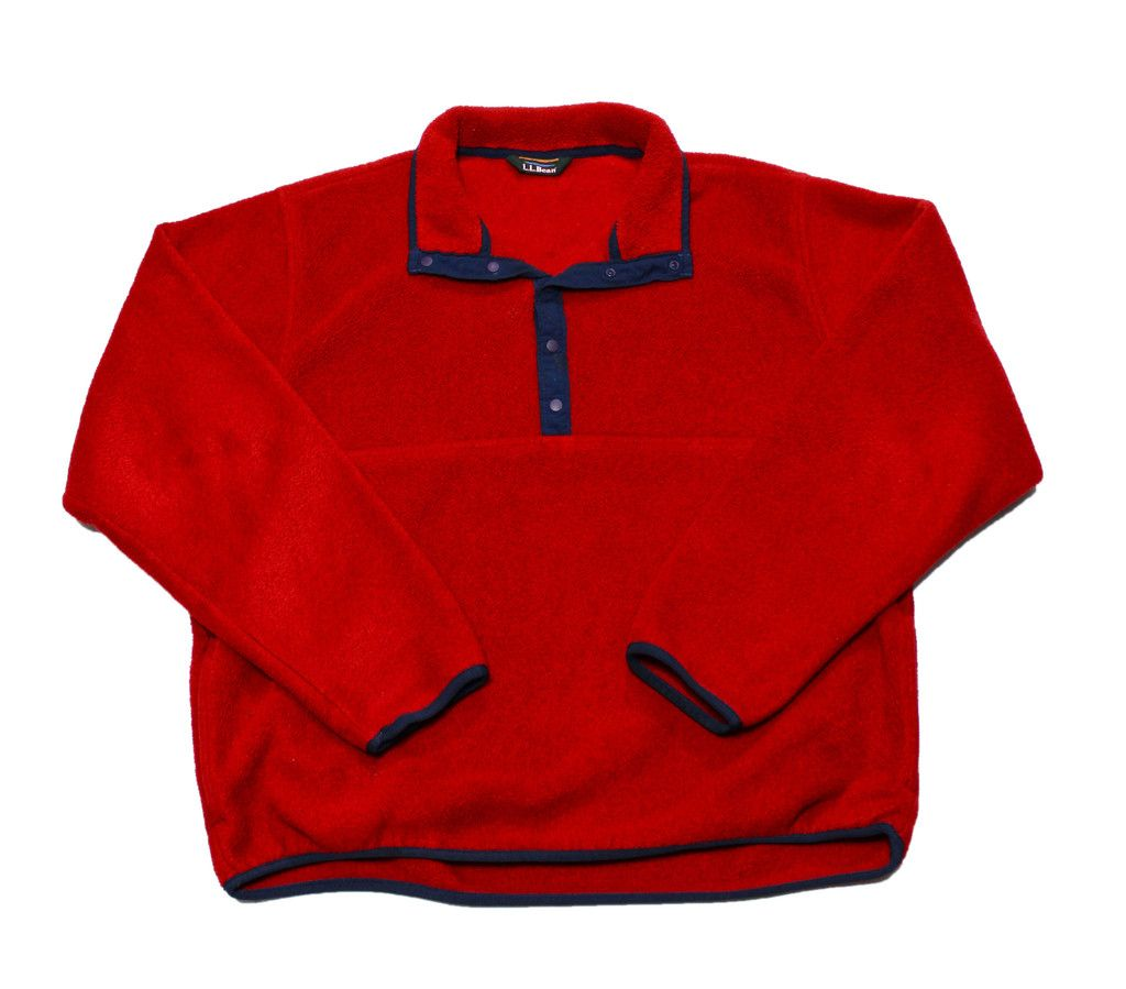 Vintage ll bean red fleece jacket mens size medium vintage
