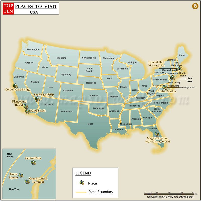 Top Ten Places To Visit In Usa Travel Maps Pinterest Tens: Visited Cities Usa Map At Usa Maps