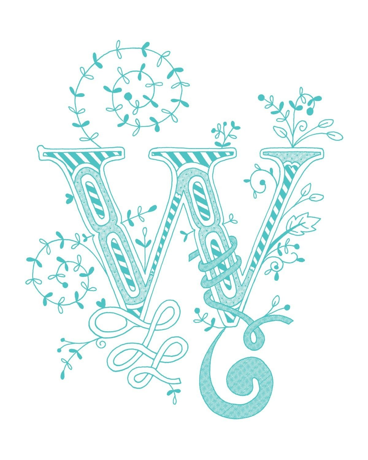 Hand Drawn Monogrammed Print 8x10 The Letter W In The