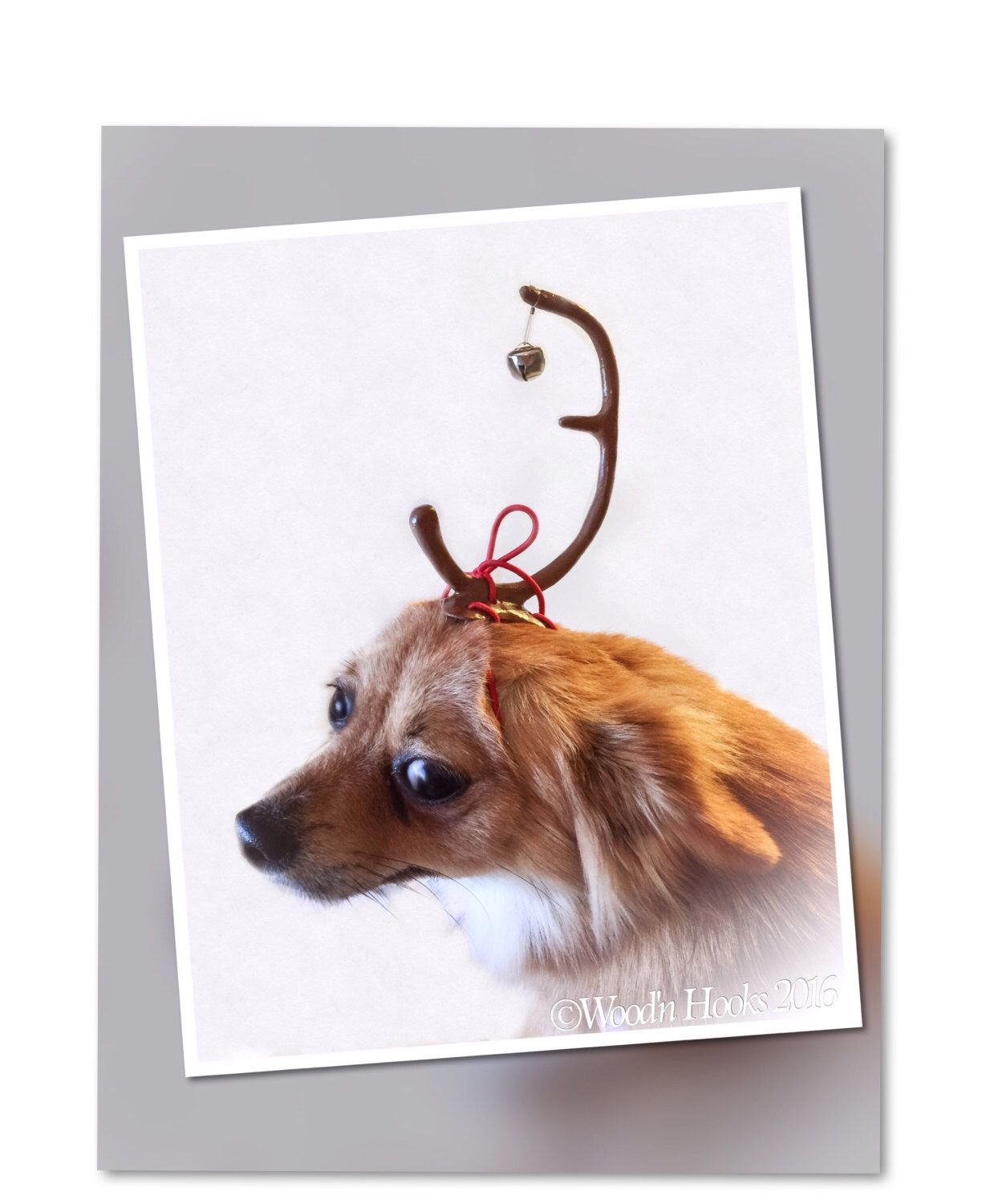 Max the dog faux deer antler headband grinch Christmas