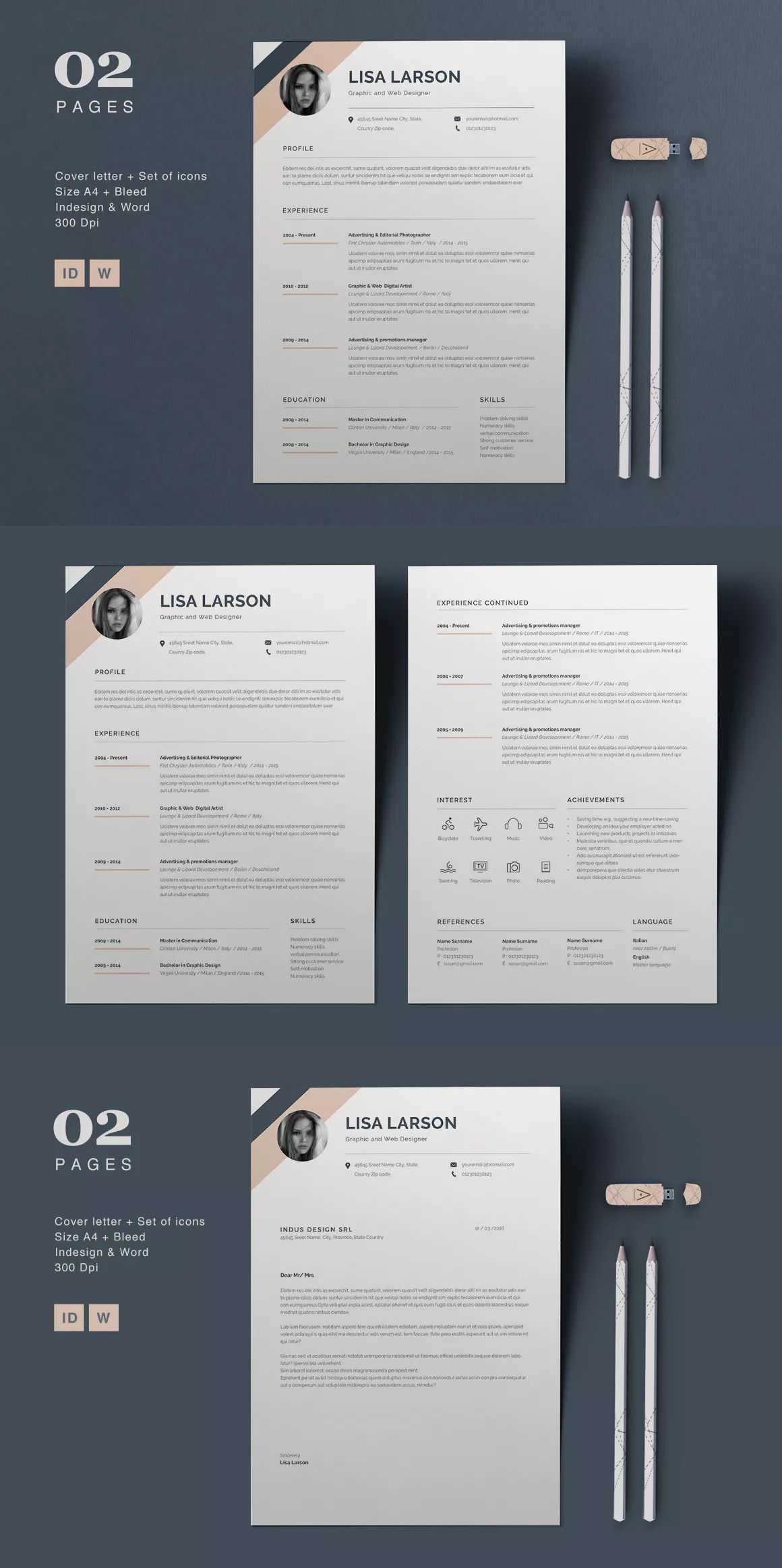 Resume Lisa Resume Template MS Word InDesign INDD - A4 and Us Letter ...