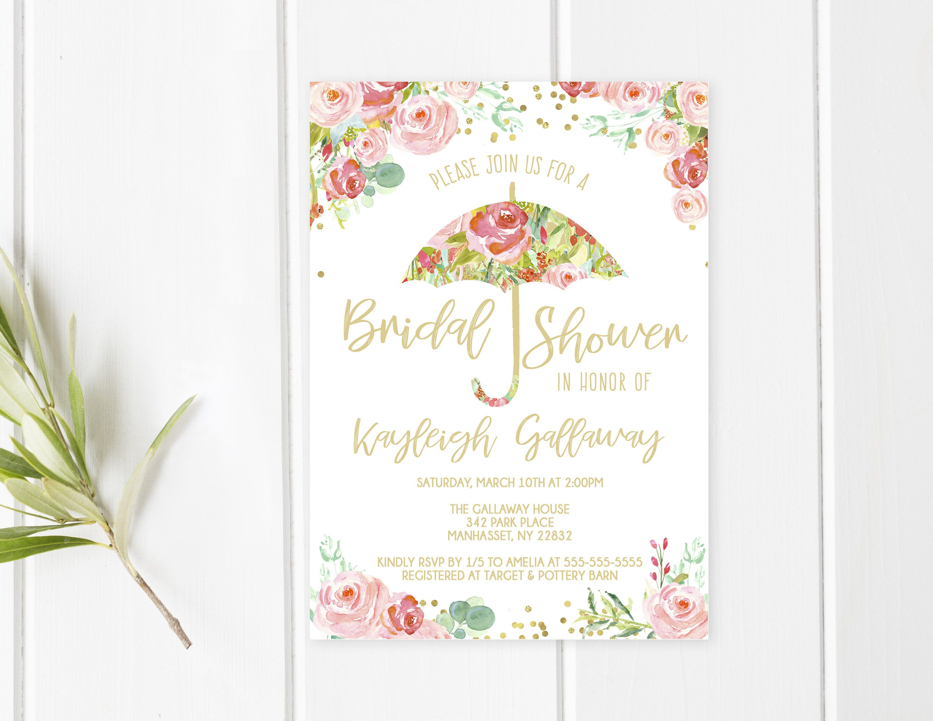 Bridal Shower Invitation Umbrella Bridal Shower Invite Pretty