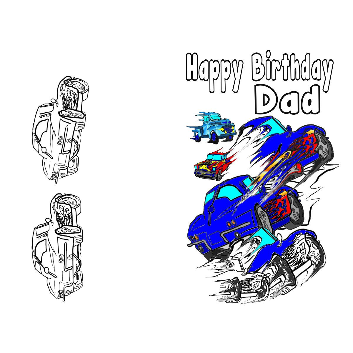 Happy Birthday Coloring Pages Cars Display
