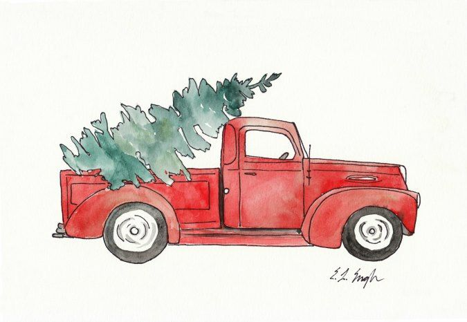 Red Truck With Christmas Tree Original Watercolor Painting 9x12 Vintage Illustration ...
