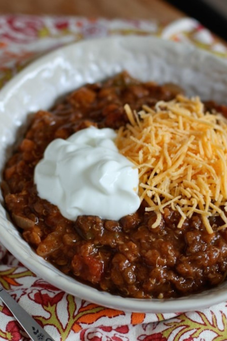 Easy Slow Cooker Lentil and Quinoa Chili | Food Dinner Recipes images