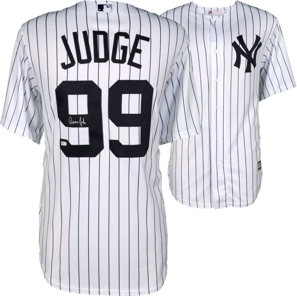 cf34e816e Aaron Judge NY Yankees Signed White Replica Jersey - w/ Nameplate on Back